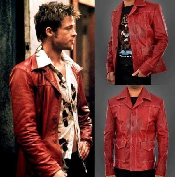 fight club brad pitt cow leather jacket for motorcycles