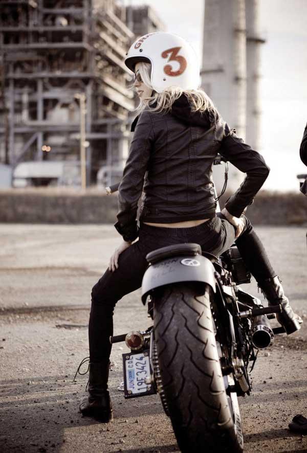 Women riding in style - vintage helmet