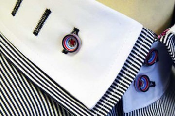 Double Collar Shirts - Black and White Stripes