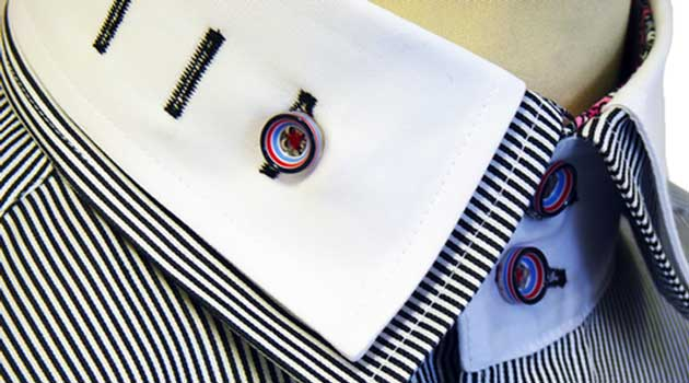 Double Collar, black and white stripe shirt