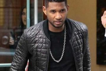 Usher - black quilted bomber jacket 2013