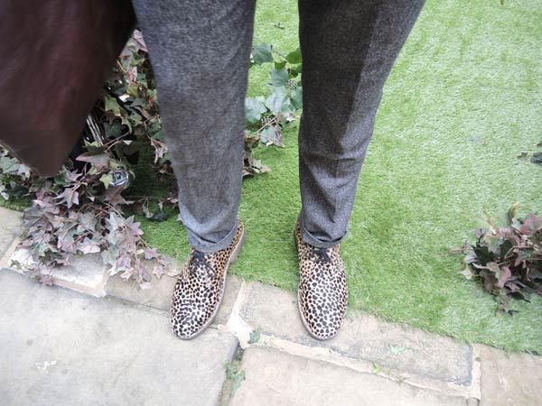 The edgy twist to his tailoring Reiss Suit with spotty shoes