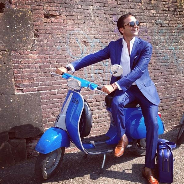 Pitti Uomo Electric Blue Suit mansbag and Vespa