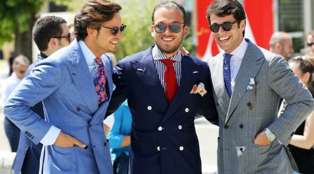 Pitti Uomo Floral ties and blue Linen  Suits summer