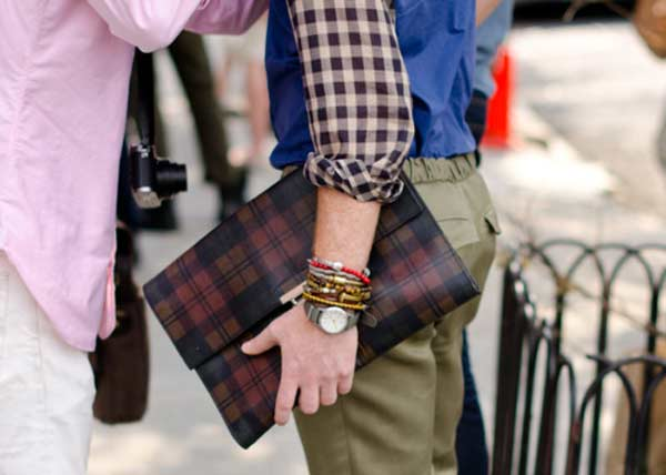 Clutch man bag for men chequered