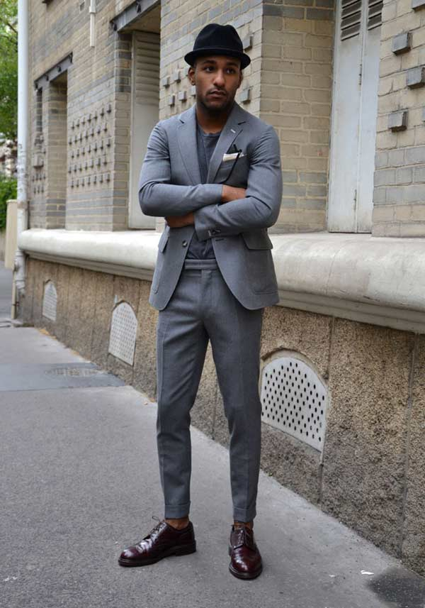 Grey Skinny Suits For Men James Bond Style