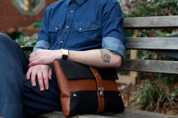 Leather man clutch bag black and brown