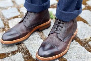 Brogue brown boot for men