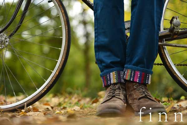 Finn apparel - cuffed trousers - bike close-up