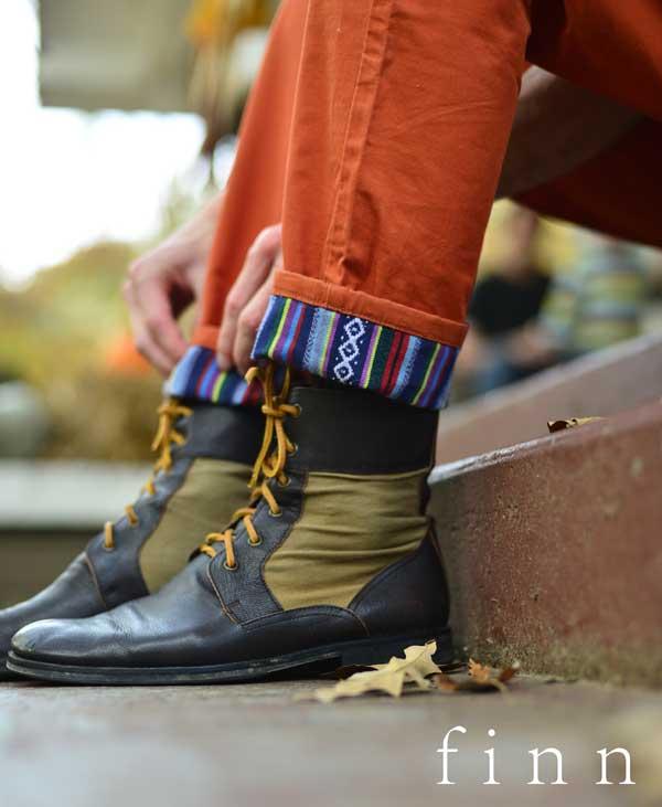 finn apparel - cuffed trousers - close-up