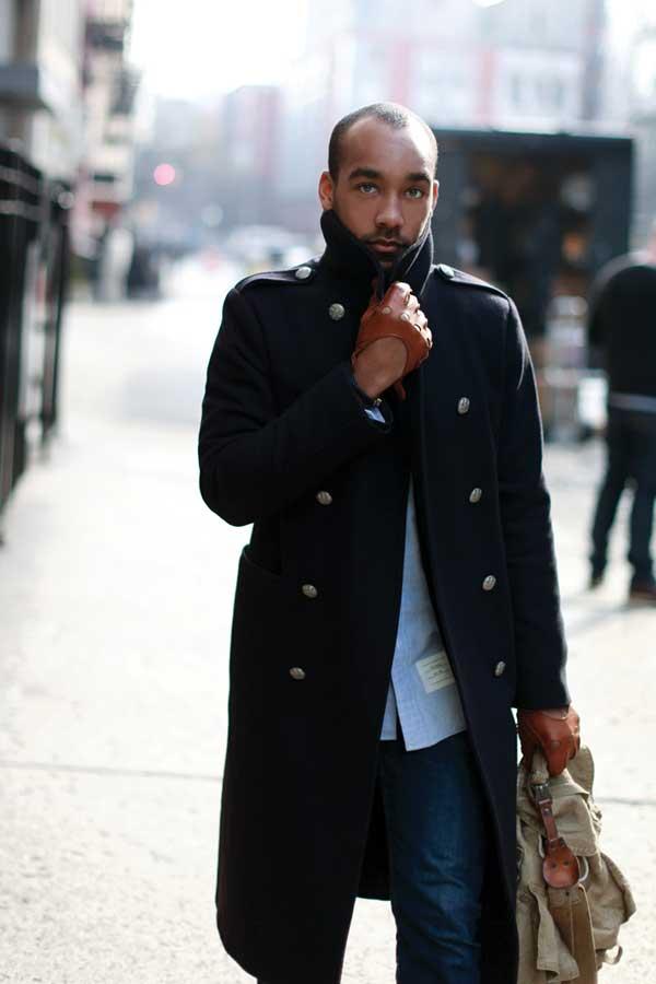Blue winter jacket for men