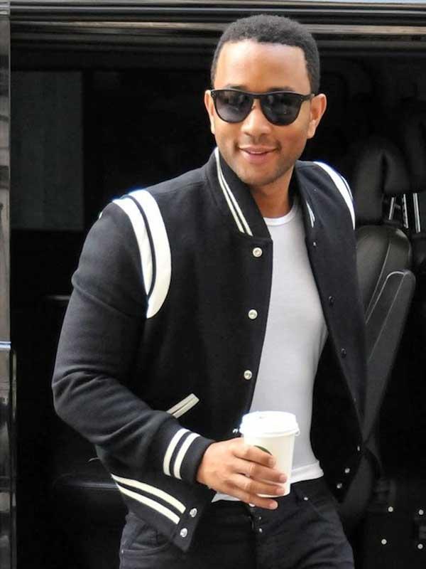 John Legend wearing SaintLaurent Teddy Jacket
