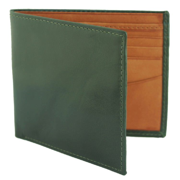 Pick of the pack: 8 card billfold wallet in British racing green and tan £63.99