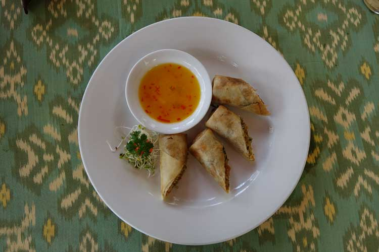 Lumpia, deep fried spring roll with chilli lime dip